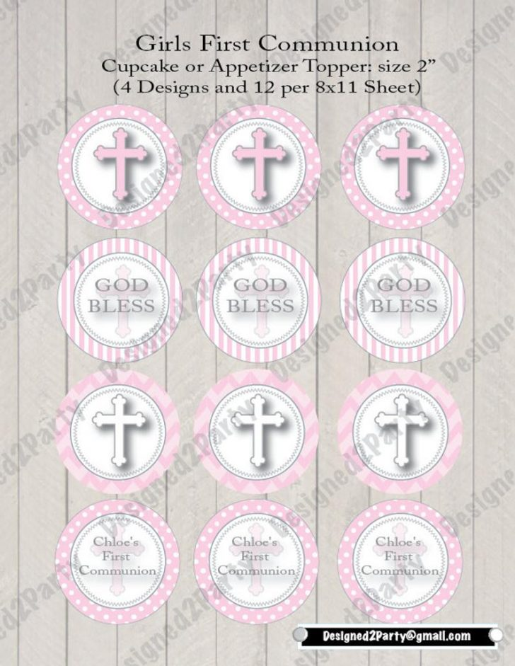 Free Printable First Communion Cupcake Toppers