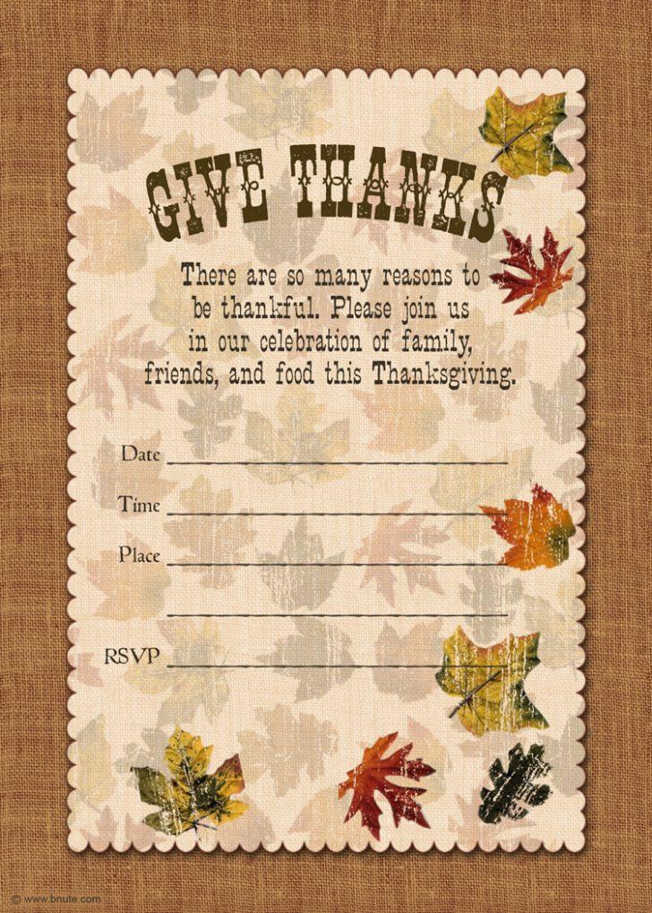 Free Printable Thanksgiving Invitation Templates