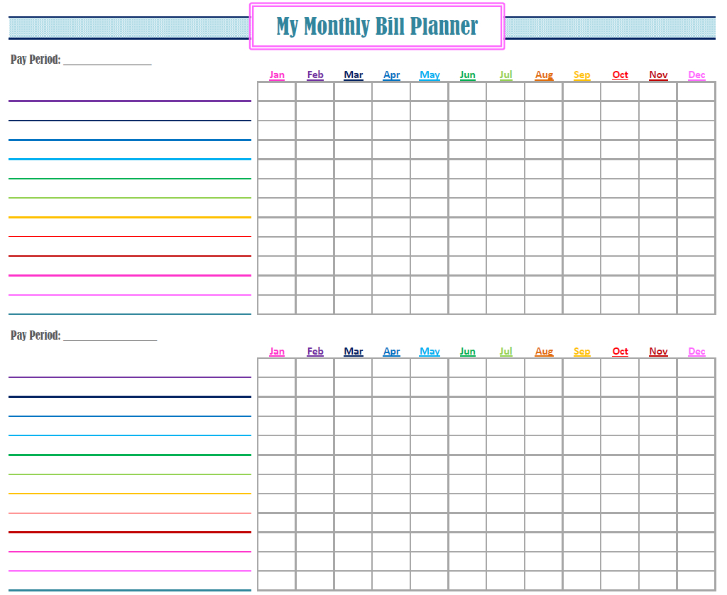 Gold Project Bill Planner | Coo L Stuff | Bill Calendar, Bill - Free Printable Bill Organizer