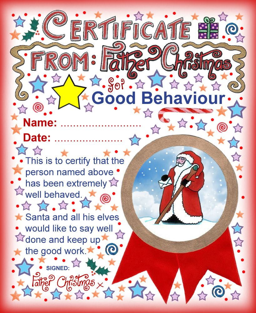 Good Behaviour Certificate From Father Christmas | Christmas - Good Behaviour Certificates Free Printable