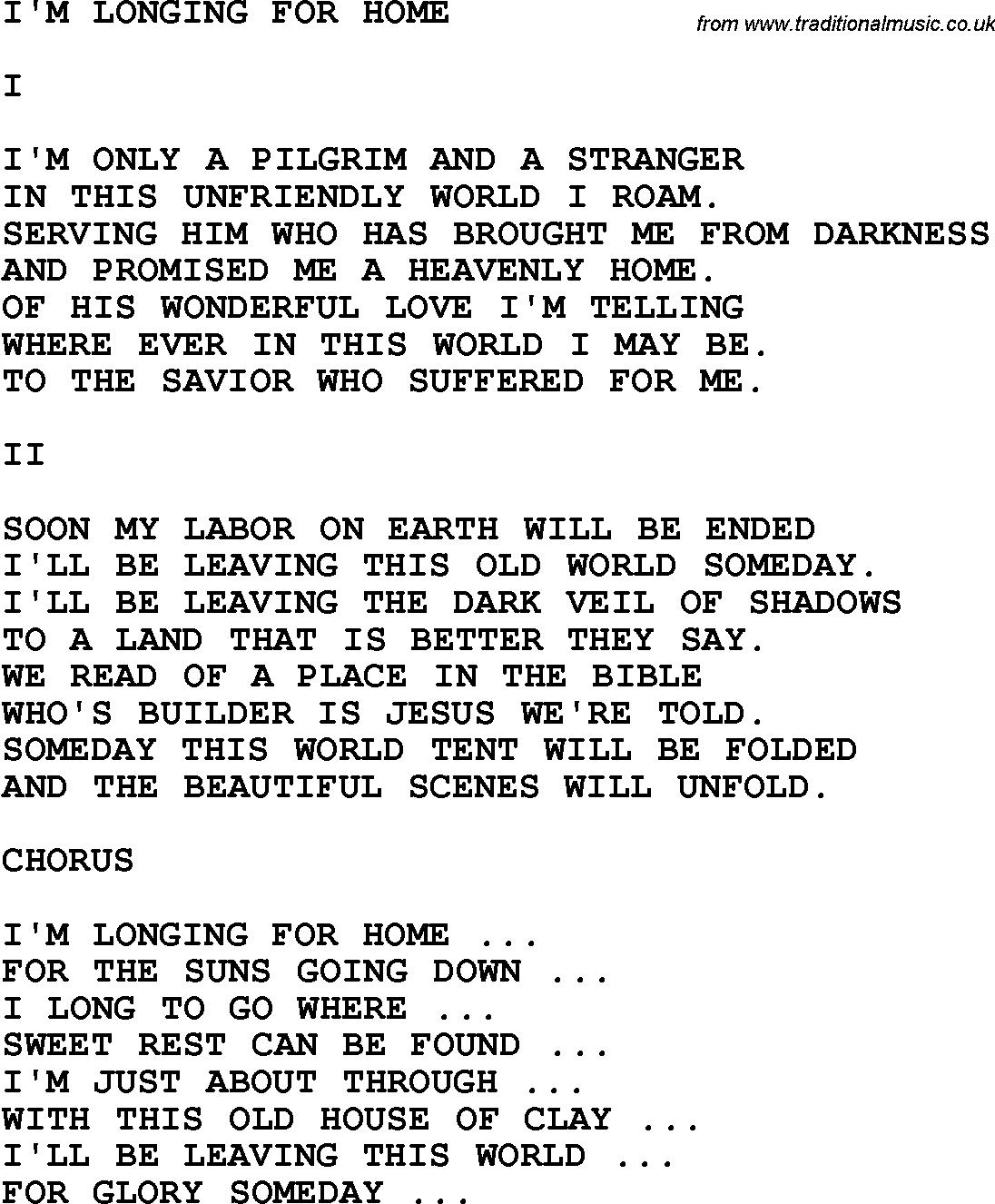 Gospel Song I'm Longing For Home Lyrics   Music Lyrics   Pinterest - Free Printable Gospel Music Lyrics