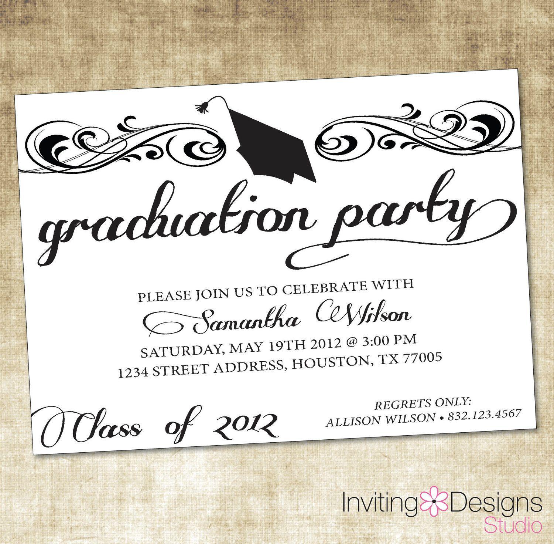 Graduate Invites, Glamorous Grad Party Invites To Design Party - Free Printable Graduation Party Invitations 2014