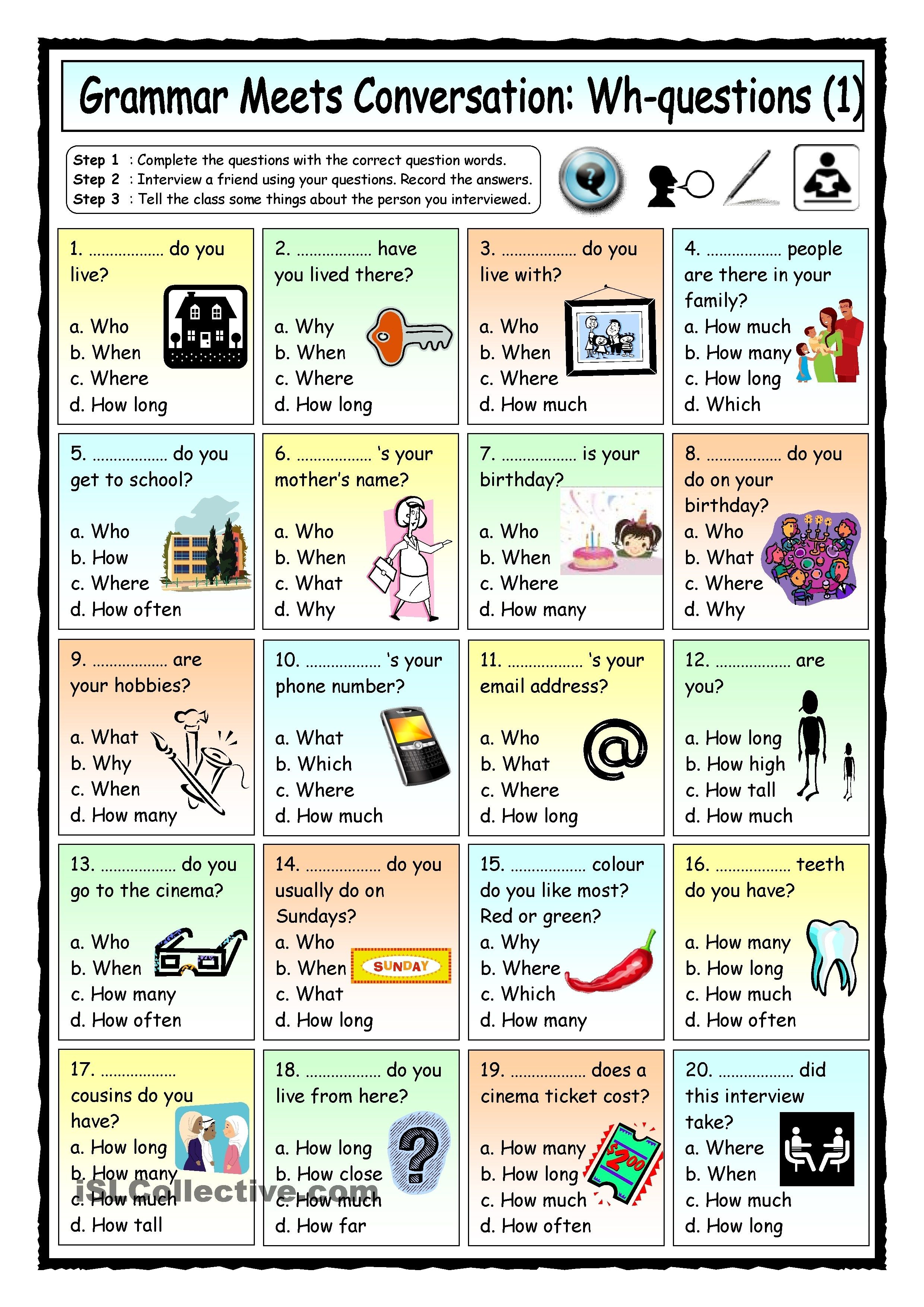Grammar Meets Conversation: Wh-Questions (1) - Getting To Know You - Free Printable English Conversation Worksheets