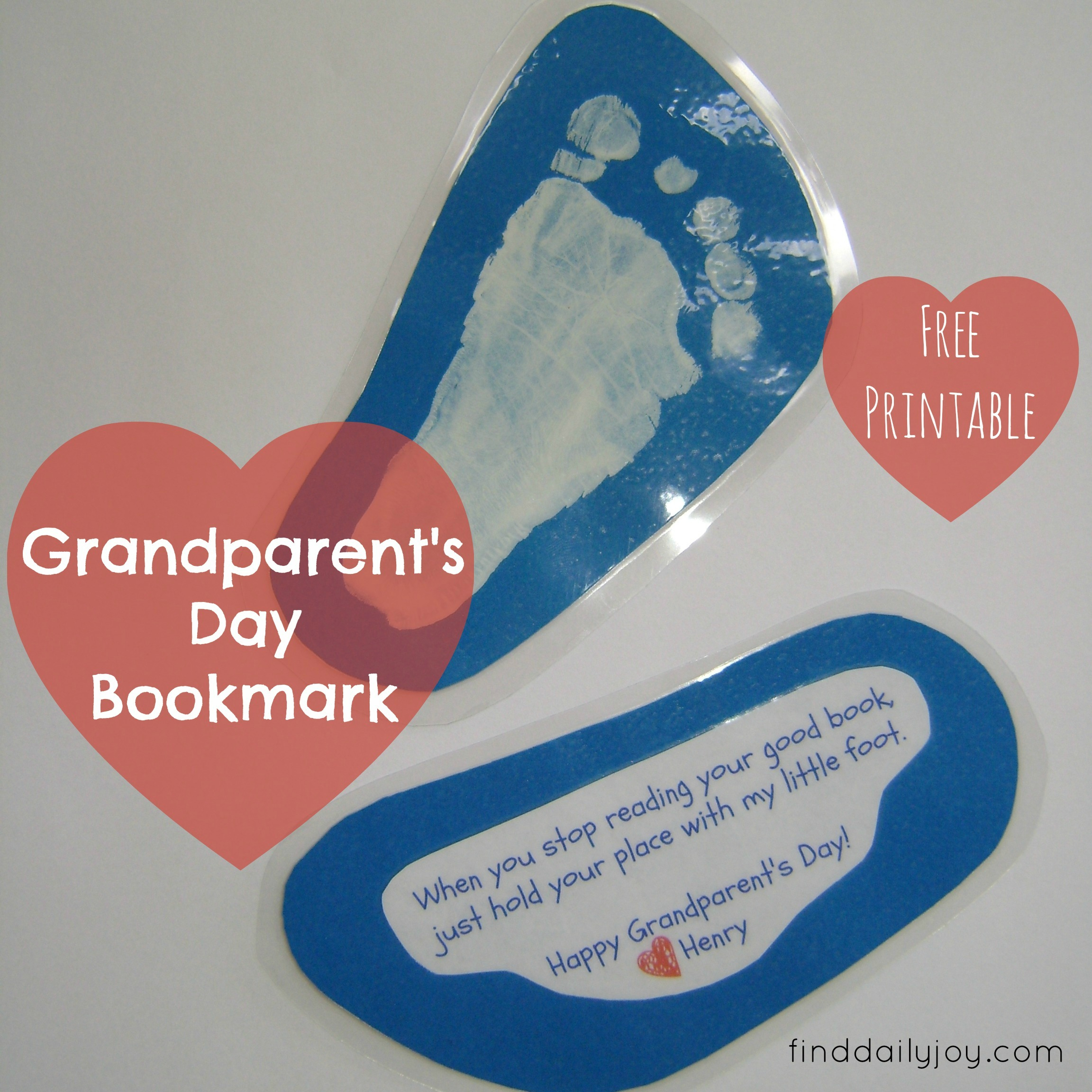 Grandparent's Day Bookmark {Free Printable}   Find Daily Joy - Free Printable Baby Bookmarks