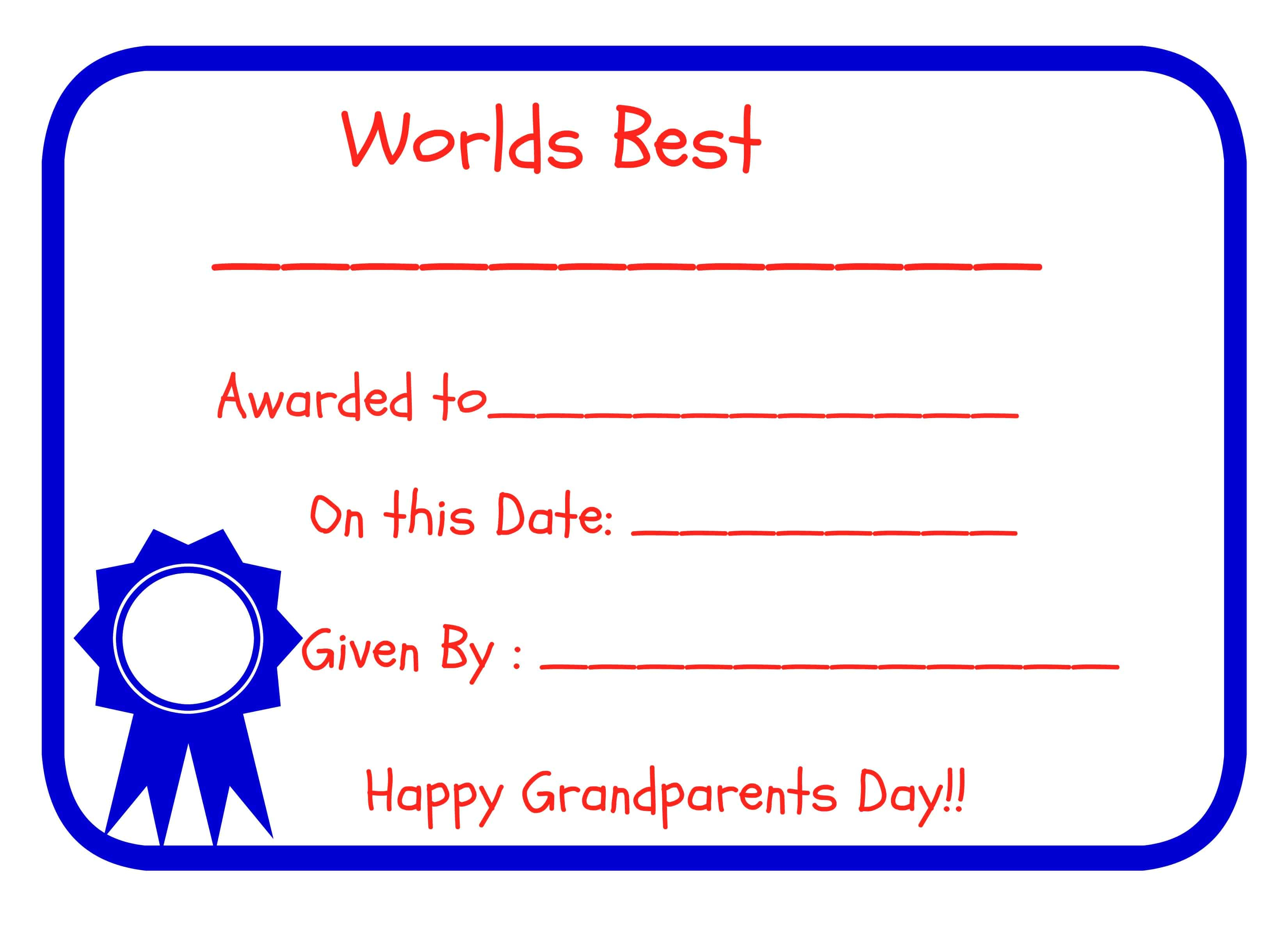 Grandparents Day - Free Printables! - Grandparents Certificate Free Printable