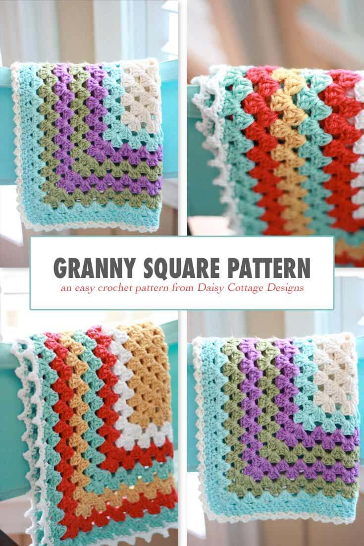 Granny Square Pattern - A Free Crochet Pattern - Free Printable Crochet Granny Square Patterns