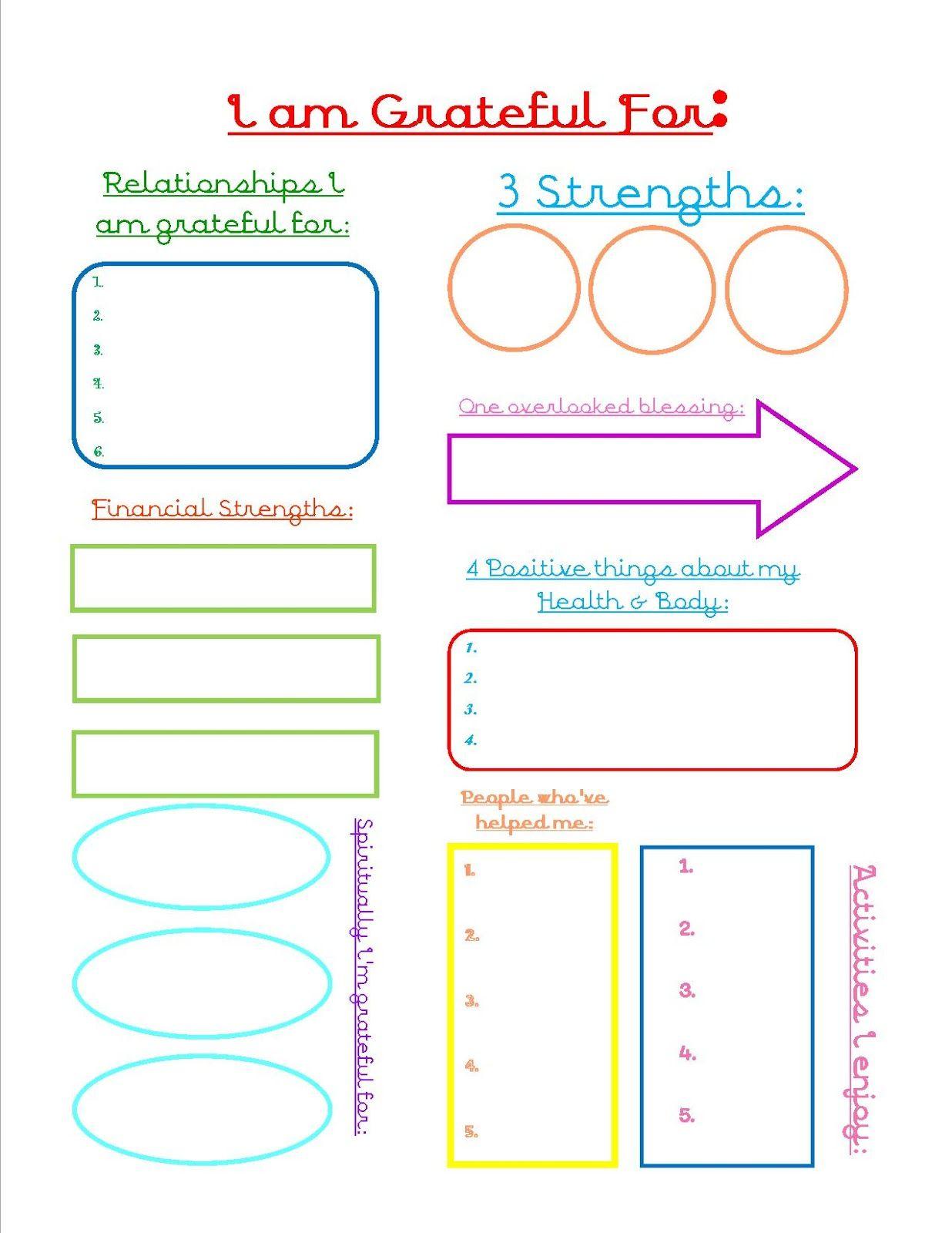 Grateful Journal Sheet | Counseling - Worksheets - Printables - Free Printable Gratitude Worksheets