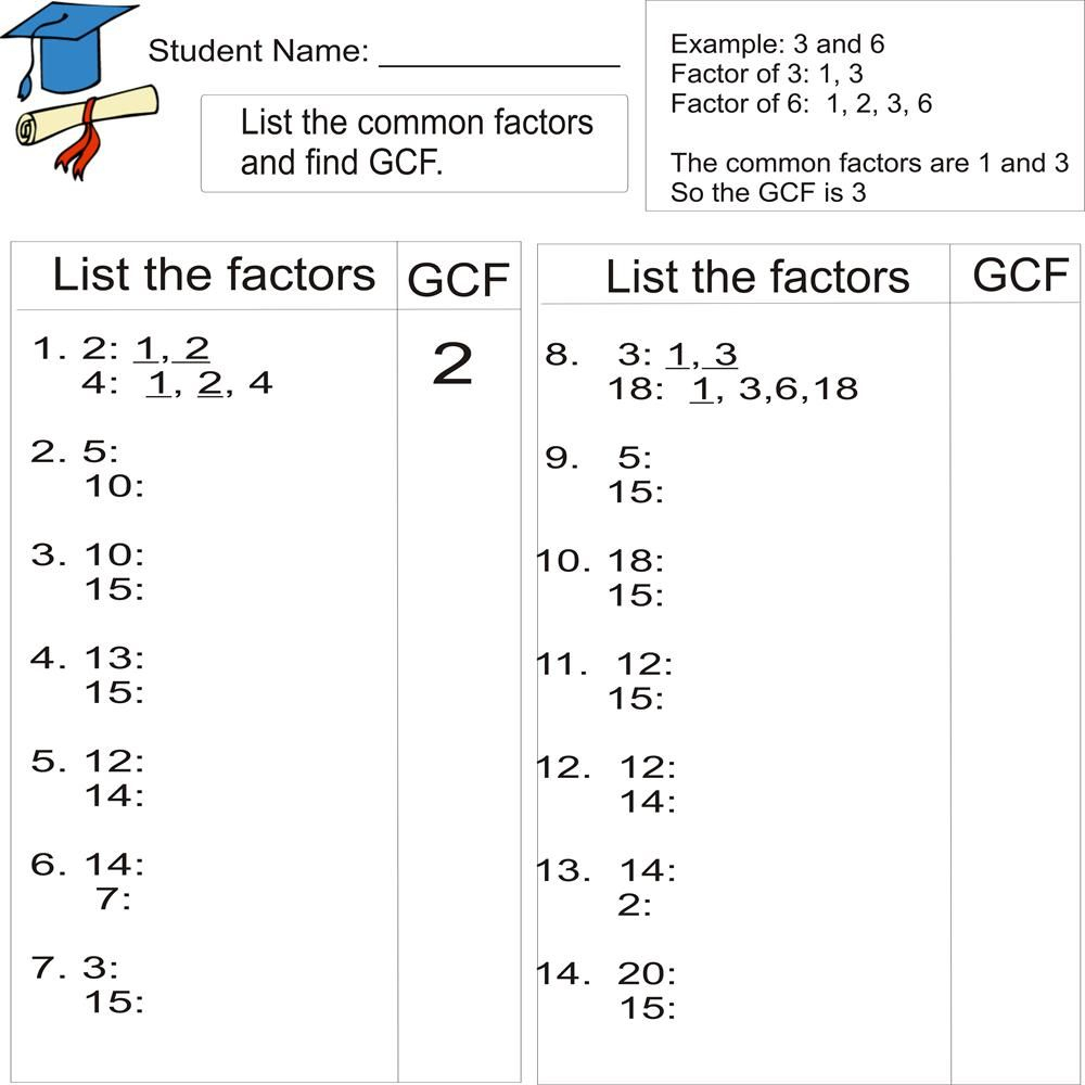 Greatest Common Factor 1To 20 (From Study Village Website. . .great - Least Common Multiple Worksheet Free Printable
