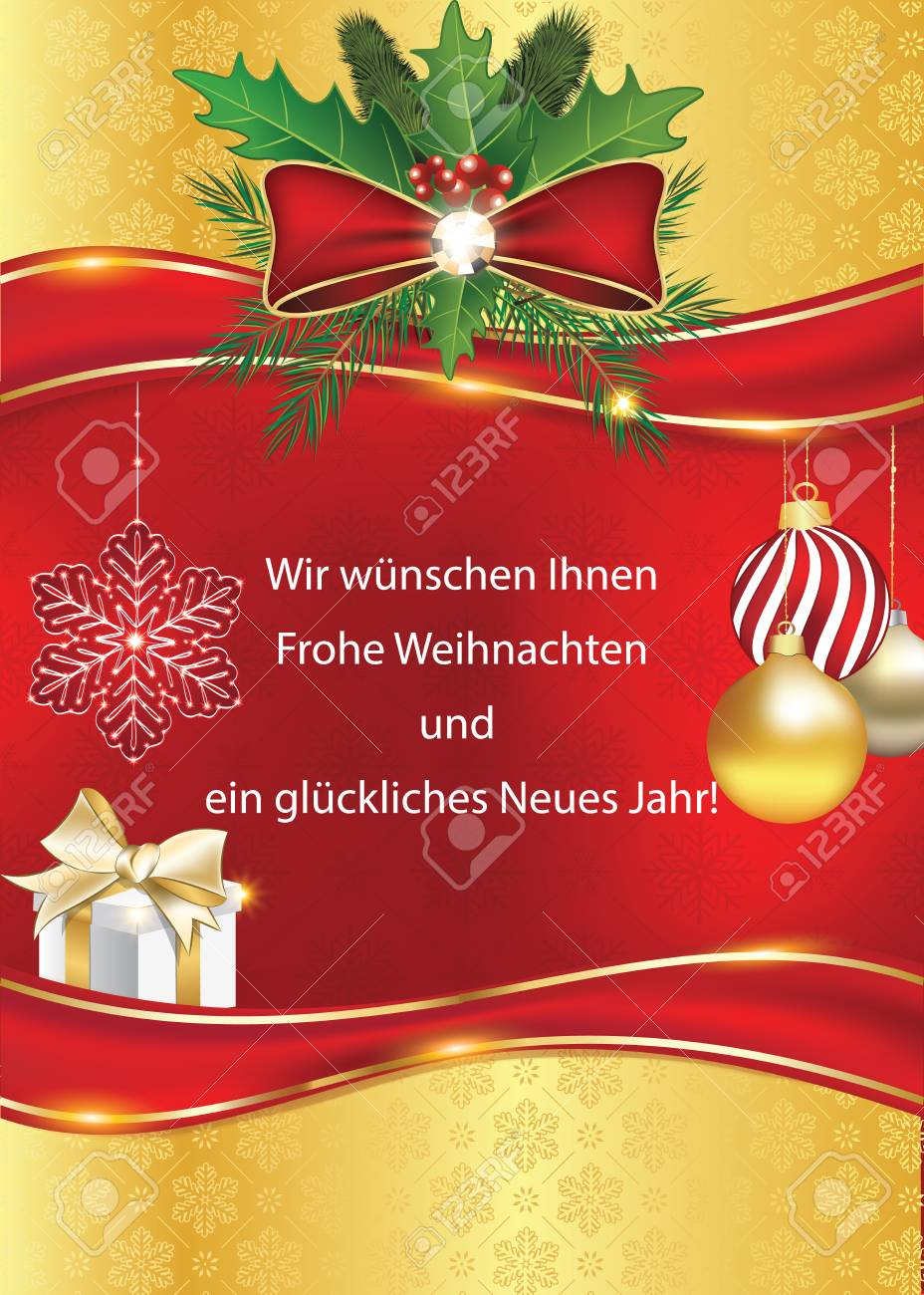 Greeting Card For The Year With Text In German Language: We Wish - Free Printable German Christmas Cards