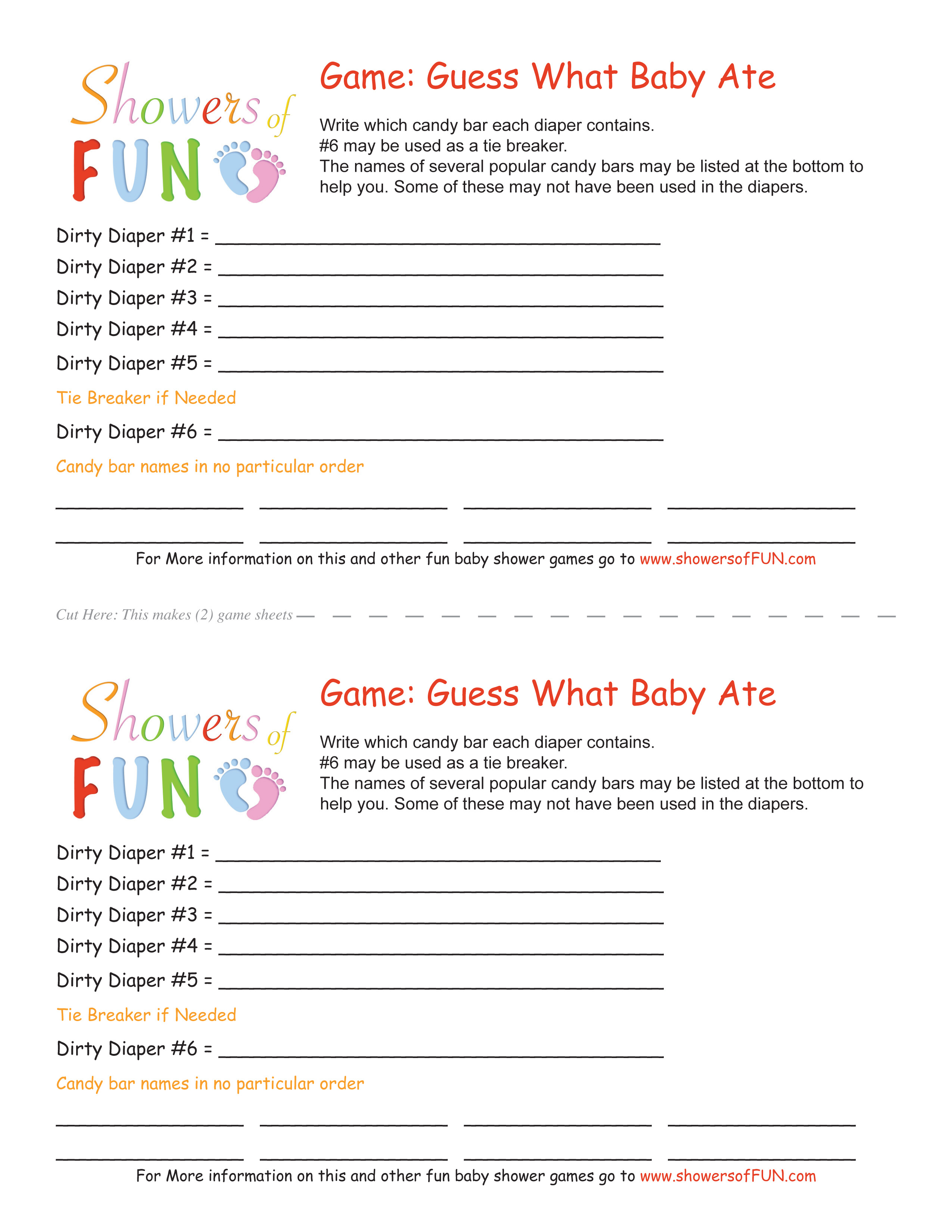 Guess What The Baby Ate - Candy Bar Dirty Diaper Game - Candy Bar Baby Shower Game Free Printable