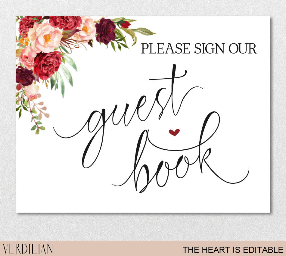 Guest Book Sign Printable Template Please Sign Our Guest Book | Etsy - Please Sign Our Guestbook Free Printable