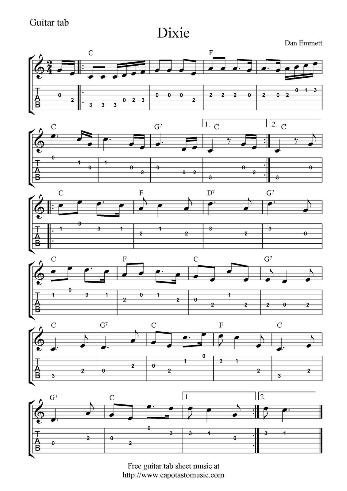 Guitar Music Sheets For Beginners | Free Guitar Tab Sheet Music - Free Printable Guitar Tabs For Beginners