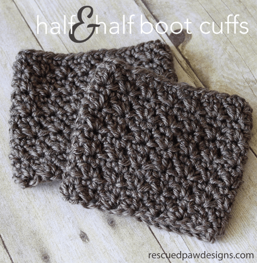 Half & Half Boot Cuffs - Crochet Pattern - Rescued Paw Designs Crochet - Free Printable Crochet Patterns For Boot Cuffs