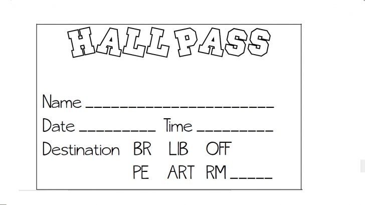 Free Printable Hall Pass Template
