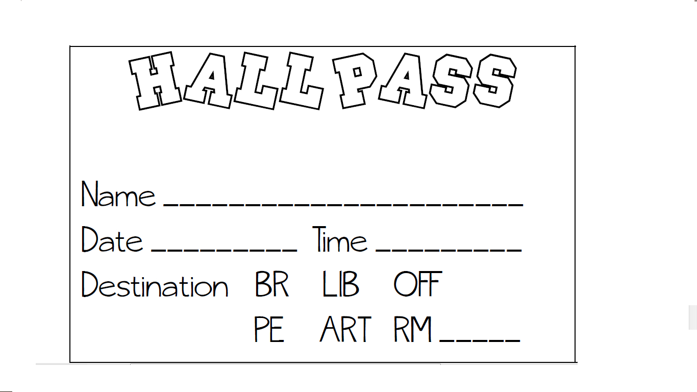 Hall Pass (Pbis System): Students Are Given A Sheet Of Passes Each - Free Printable Hall Pass Template
