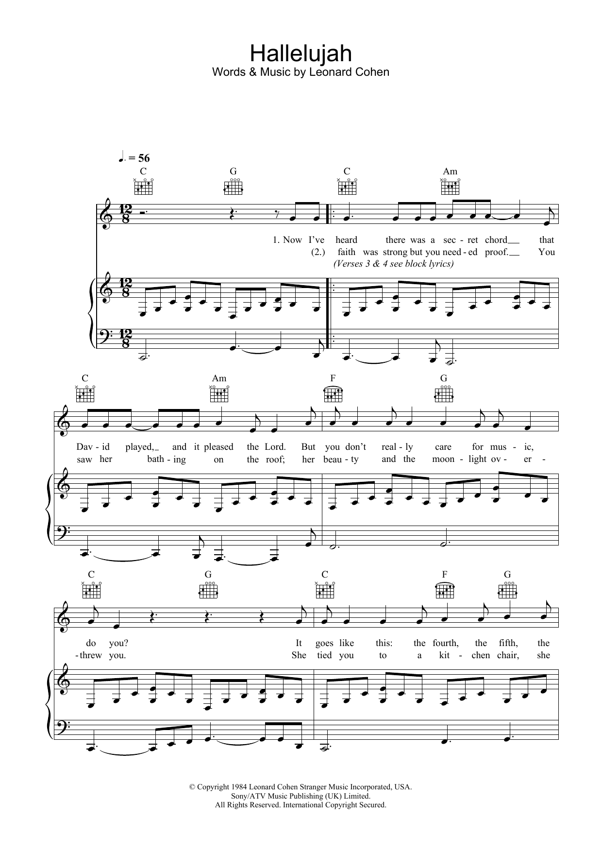 Hallelujah Sheet Musicleonard Cohen For Klavier/keyboard - Free Printable Piano Sheet Music For Hallelujah By Leonard Cohen