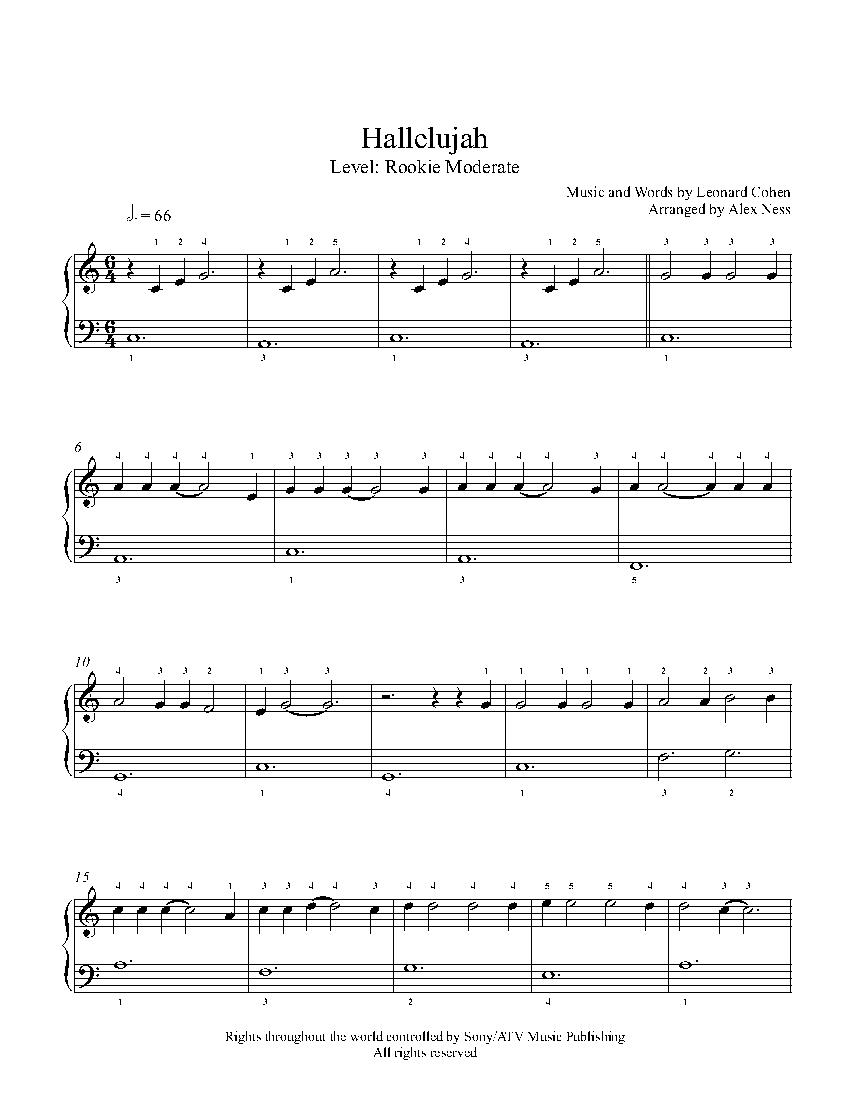 Hallelujahjeff Buckley Piano Sheet Music | Rookie Level - Hallelujah Piano Sheet Music Free Printable