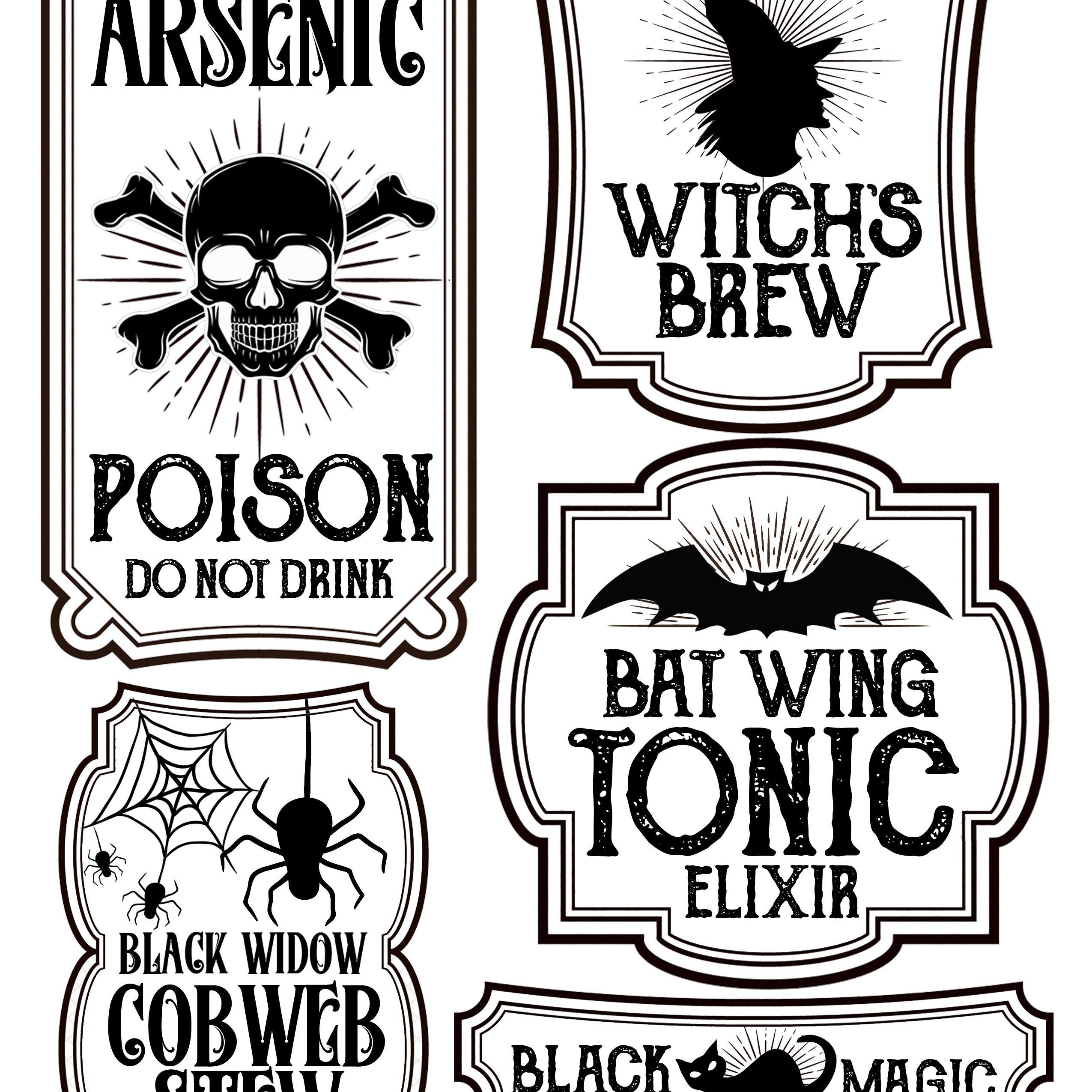 Halloween Bottle Labels - Free Printables - Potions Labels   Art - Free Printable Potion Labels