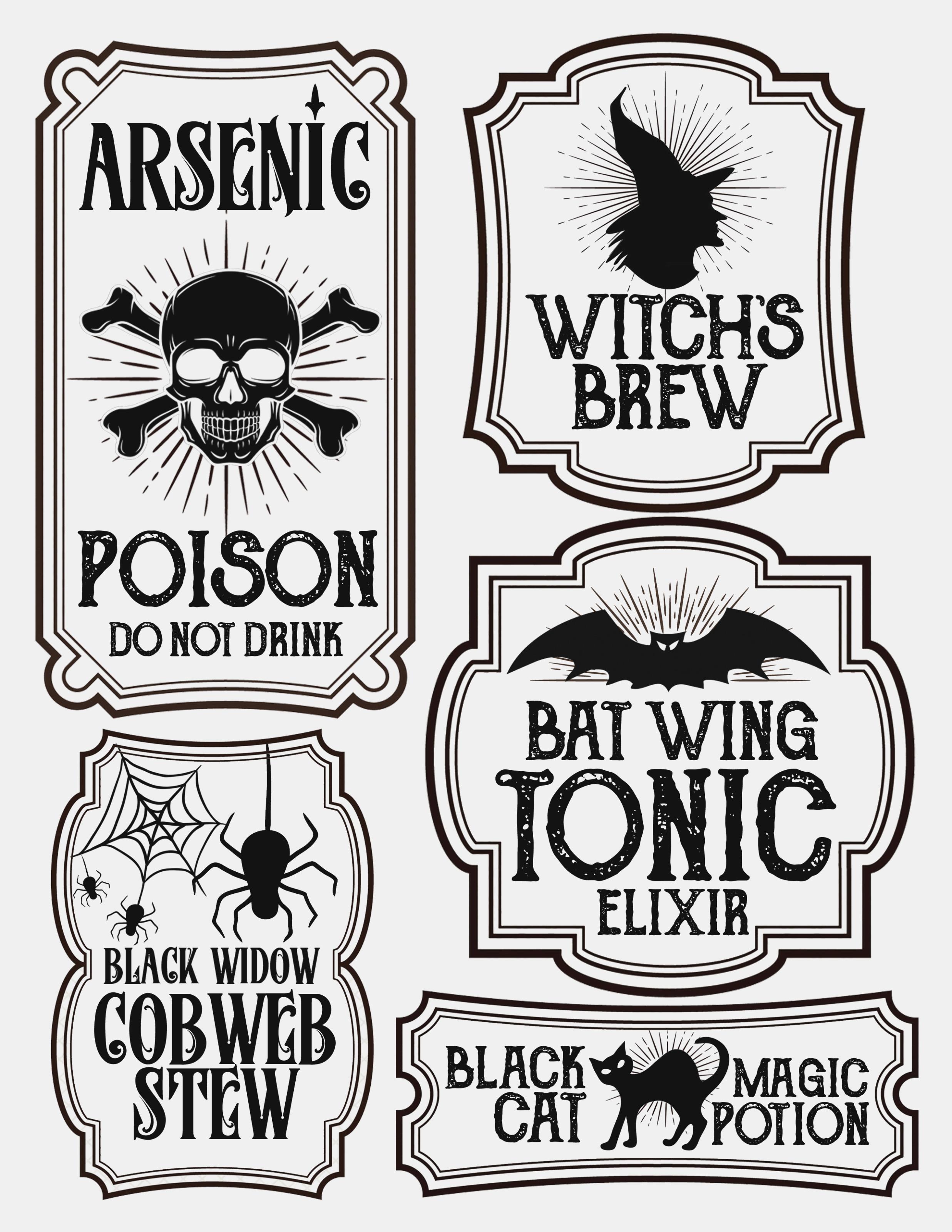 Halloween Bottle Labels – Free Printables – Potions Labels – Poison - Free Printable Potion Labels