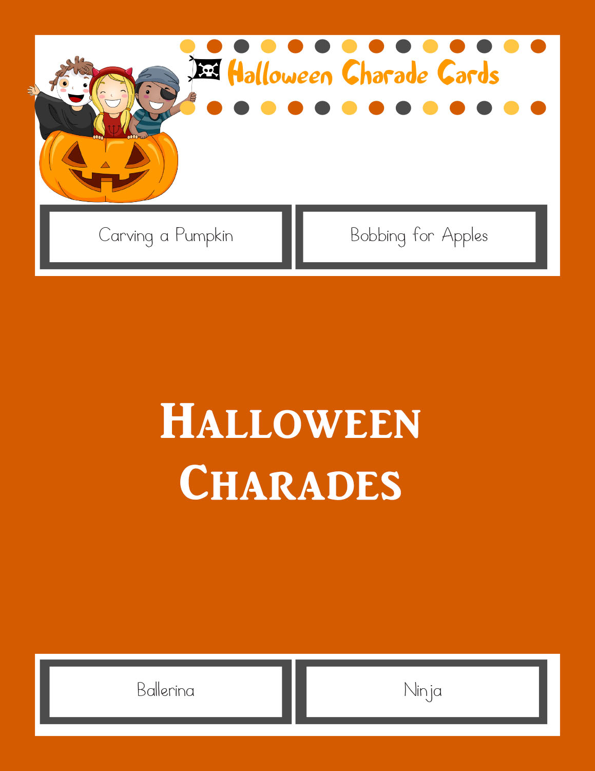 Halloween Charades: Printable Halloween Game - The Joys Of Boys - Free Printable Charades Cards