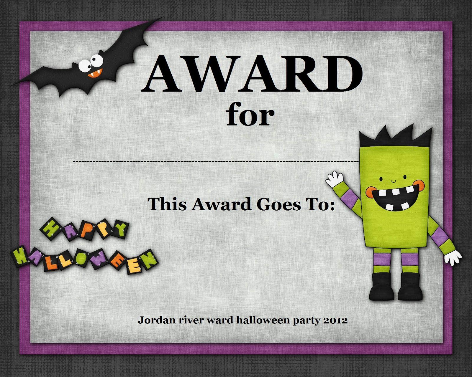 Halloween Costume Award | Halloween | Pinterest | Halloween - Free Printable Halloween Award Certificates