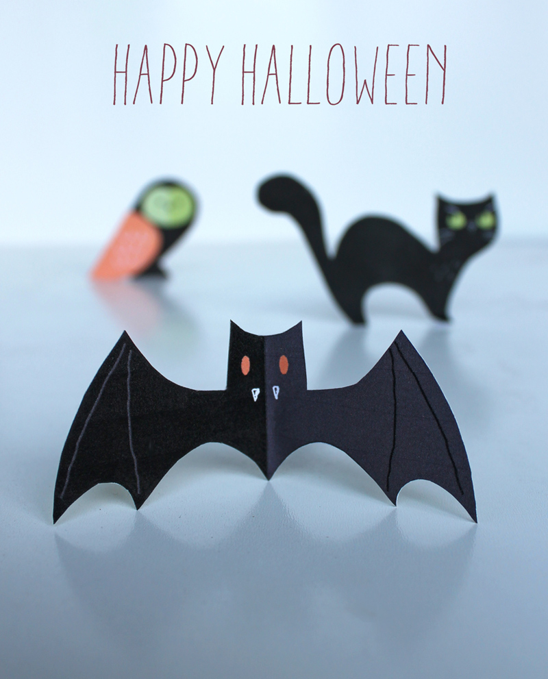 Halloween Craft Menagerie - Free Cute Cats, Owls & Bats! - Free Printable Paper Crafts