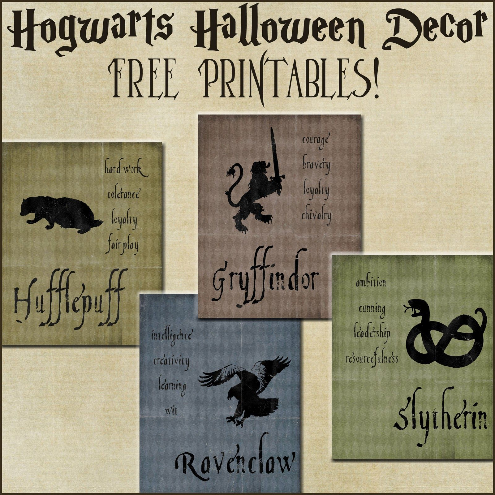 Halloween Decor: Harry Potter House Posters   Harry Potter Party - Free Printable Harry Potter Posters