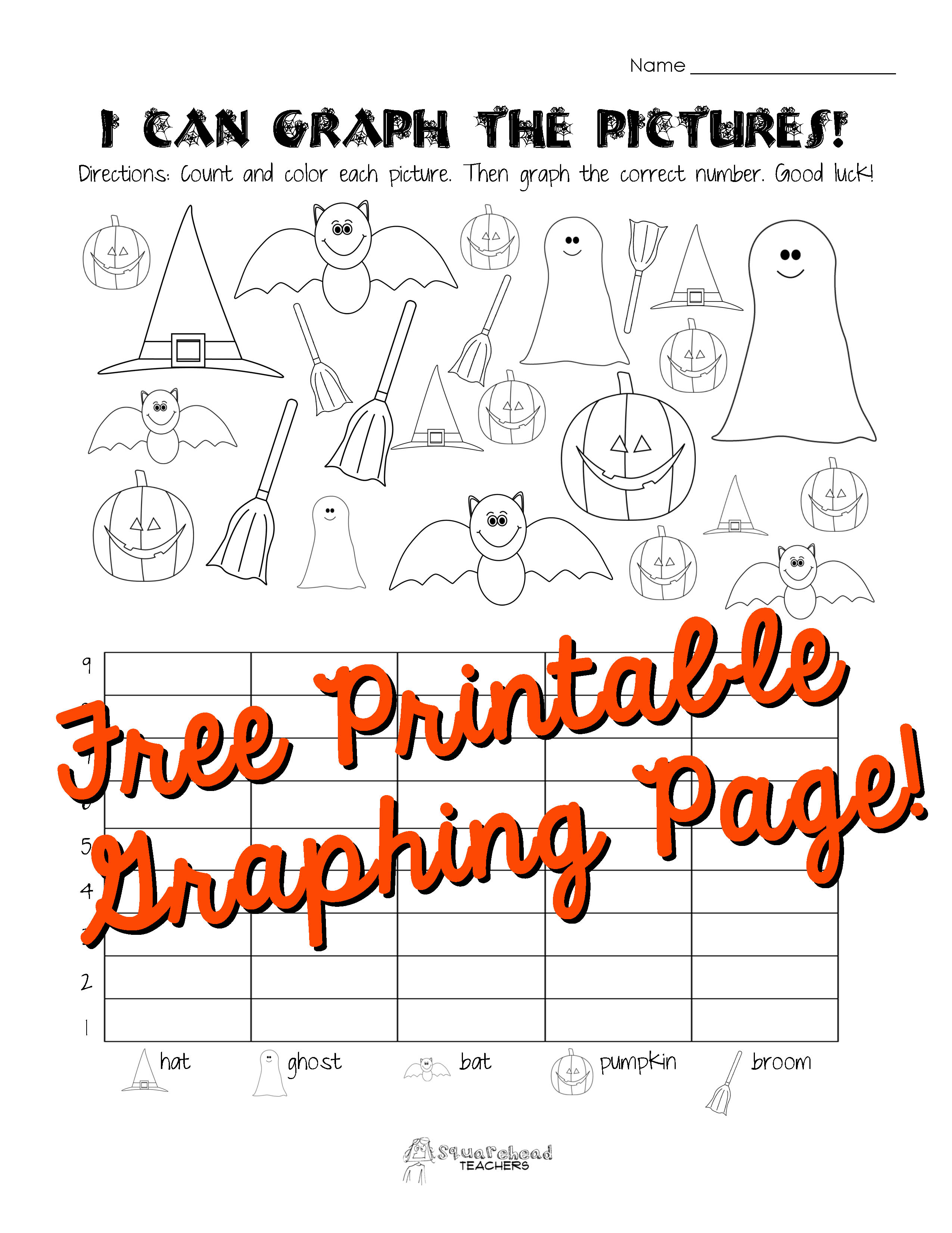 Halloween Graphing Page (Kindergarten, First Grade) | Squarehead - Free Printable Graphs For Kindergarten