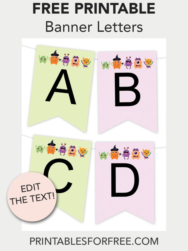 Halloween Monster Printable Banner | Free Printables - Free - Free Printable Halloween Place Cards