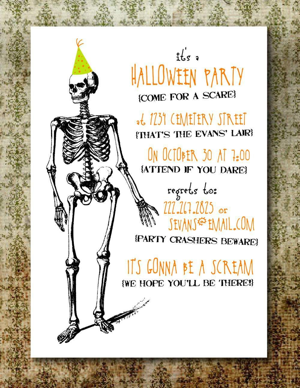 Halloween Party Invitations Free Printable … | Creepy In 2019… - Halloween Invitations Free Printable Black And White