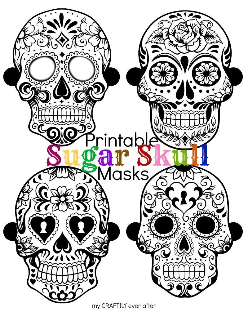 Halloween: Printable Sugar Skull Masks | Halloween | Pinterest - Free Printable Sugar Skull Day Of The Dead Mask