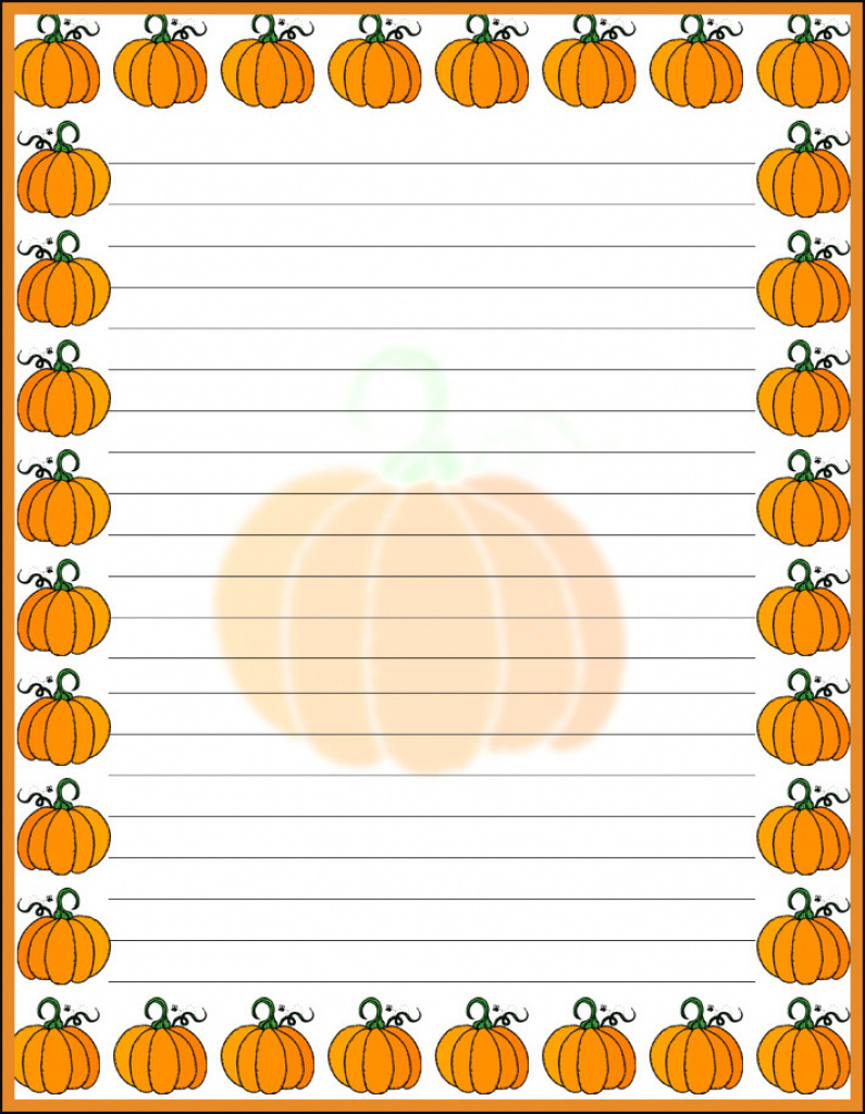 Halloween Pumpkin Border Stationery, Free Printable Halloween With - Free Printable Halloween Stationery Borders