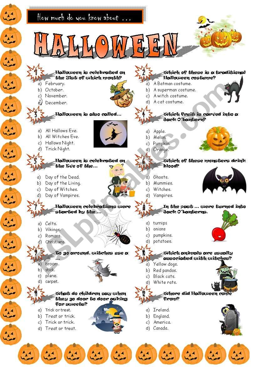 Halloween Quiz - Esl Worksheetjayce - Free Printable Halloween Quiz