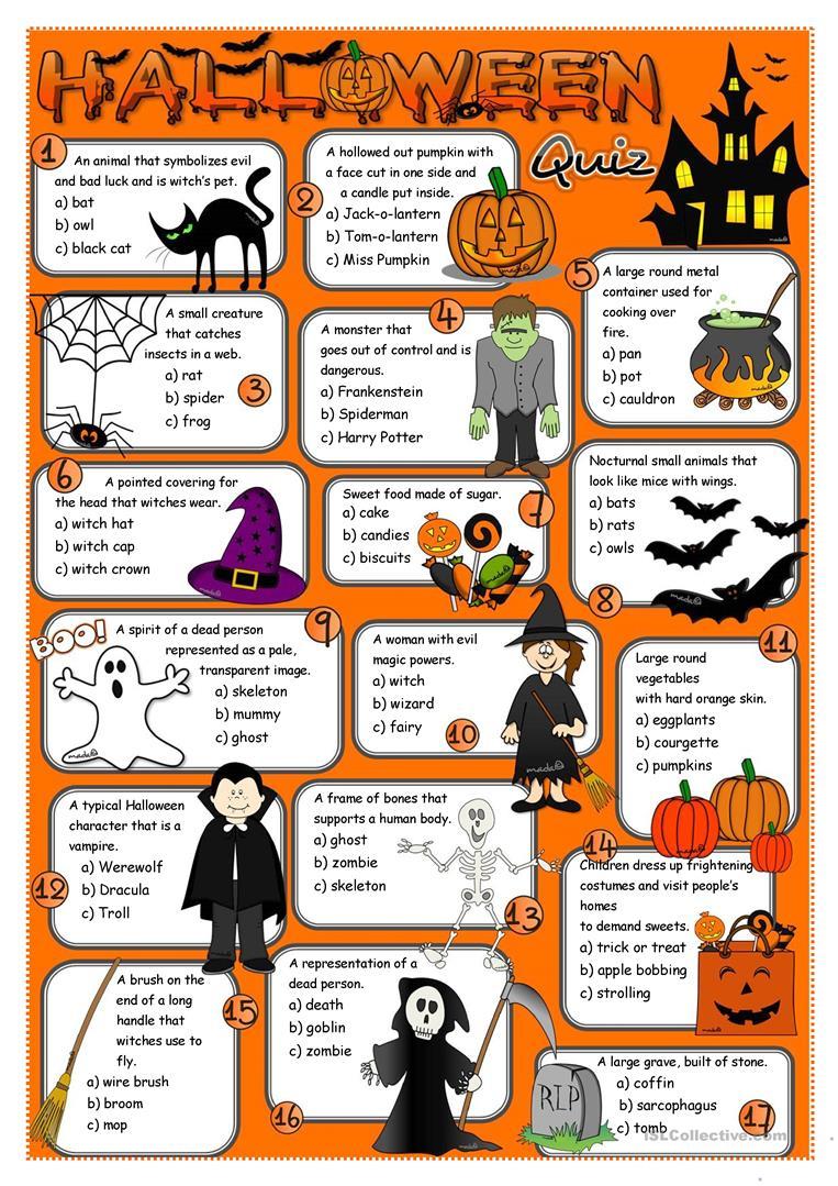 Halloween Quiz Worksheet - Free Esl Printable Worksheets Made - Free Printable Halloween Quiz