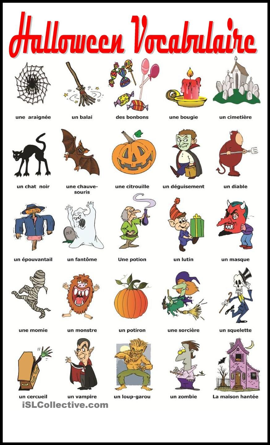 Halloween Vocabulaire | French | Pinterest | Clases De Francés - Free Printable French Halloween Worksheets