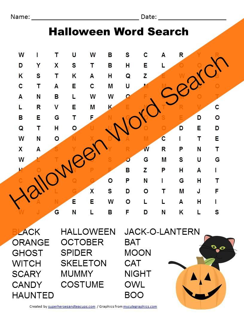 Halloween Word Search Free Printable - Free Printable Halloween Homework Pass