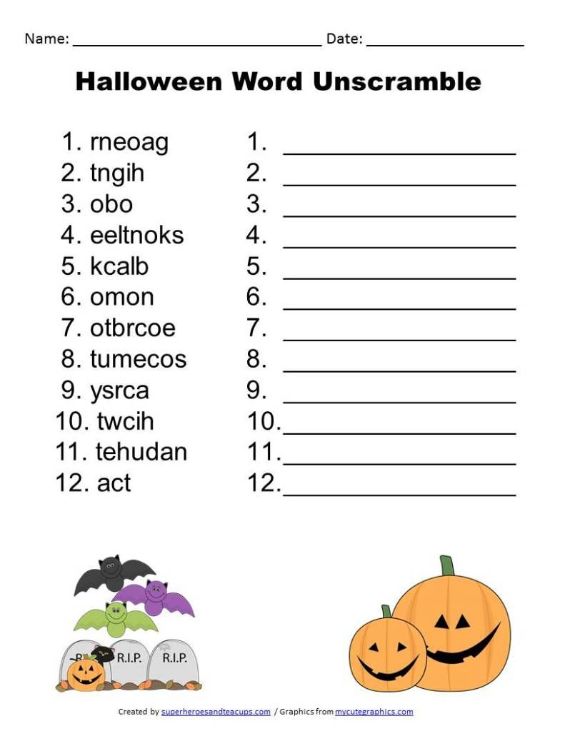 Halloween Word Unscramble Free Printable. | Activities For Boys - Unscramble Word Games Printable Free