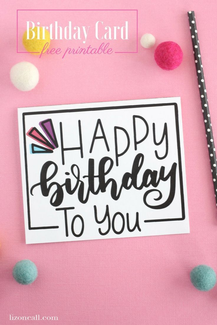 Hand Lettered Free Printable Birthday Card | Diy/crafts | Free - Free Printable Birthday Cards For Mom