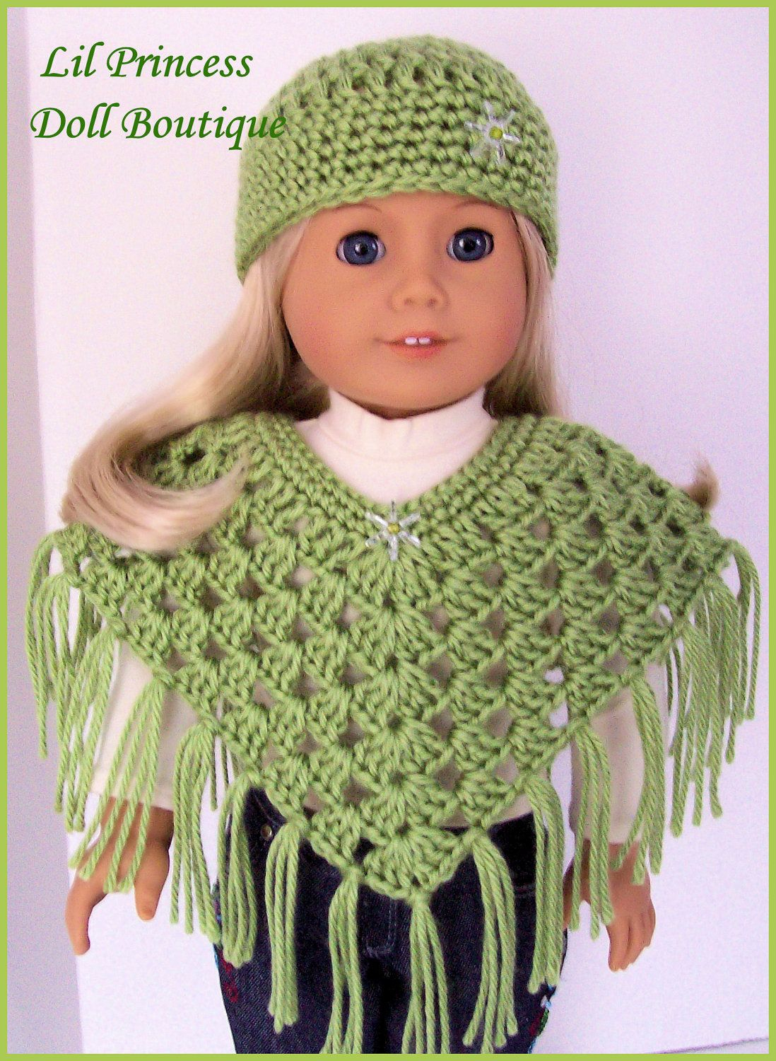 Handmade Doll Clothes Made To Fit American Girl, Pistachio Poncho - Free Printable Crochet Doll Clothes Patterns For 18 Inch Dolls
