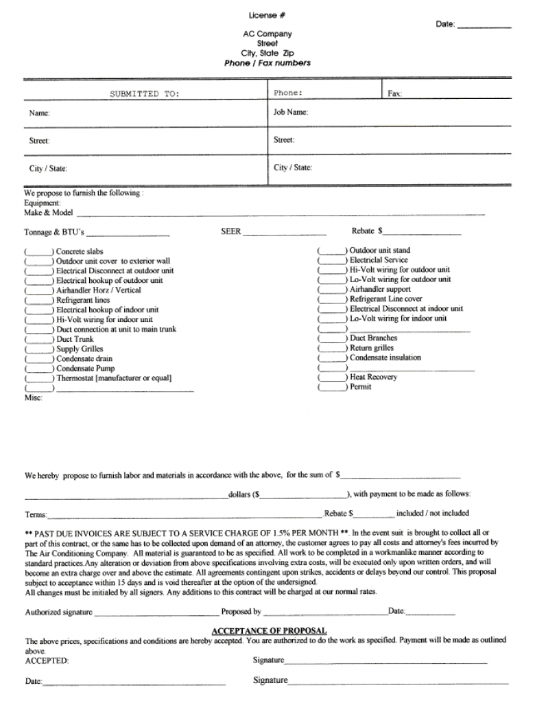 Handyman Contract Sample Printable Blank Bid Proposal Forms Free In - Free Printable Handyman Contracts