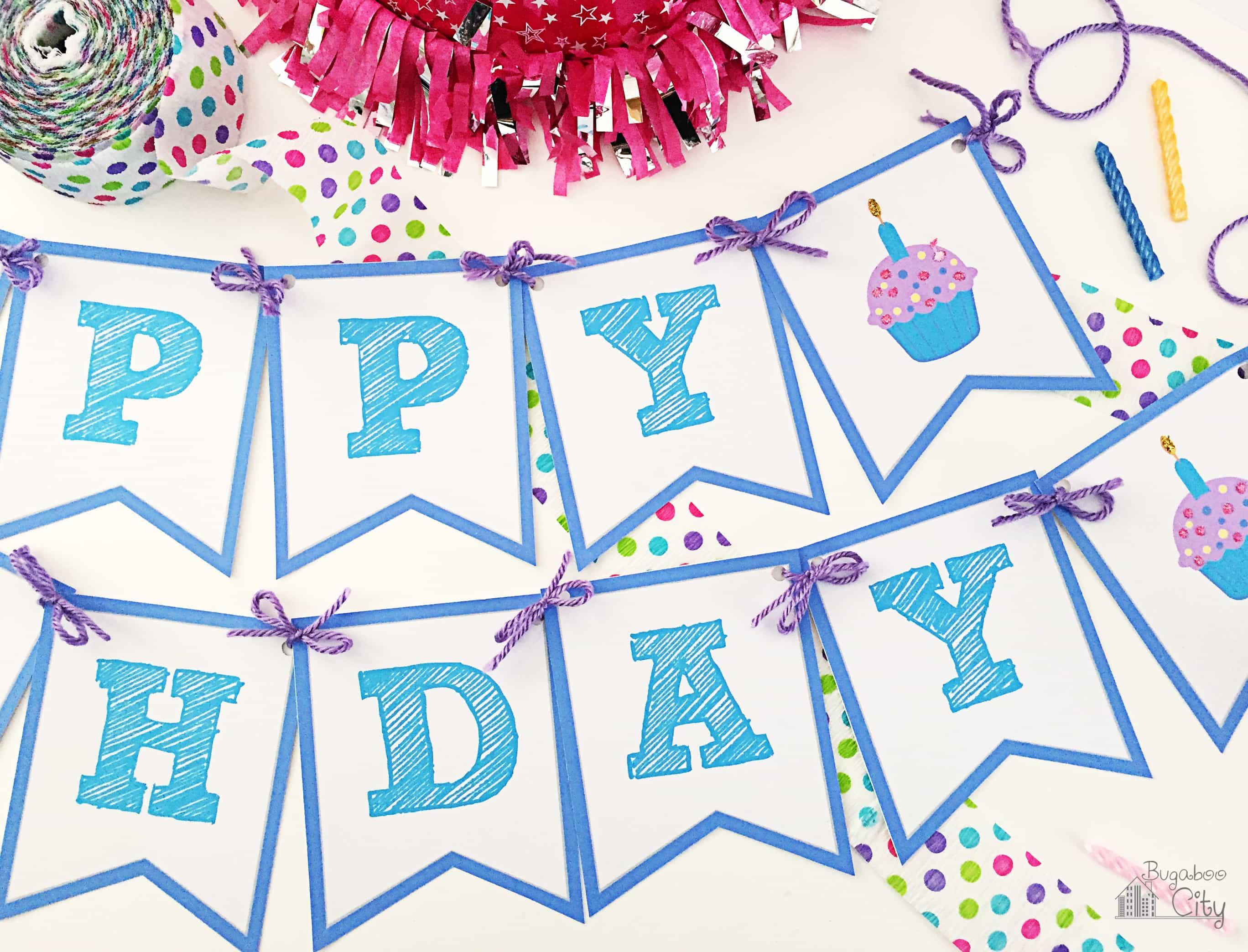 Happy Birthday Banner - Bugaboocity - Free Printable Happy Birthday Banner