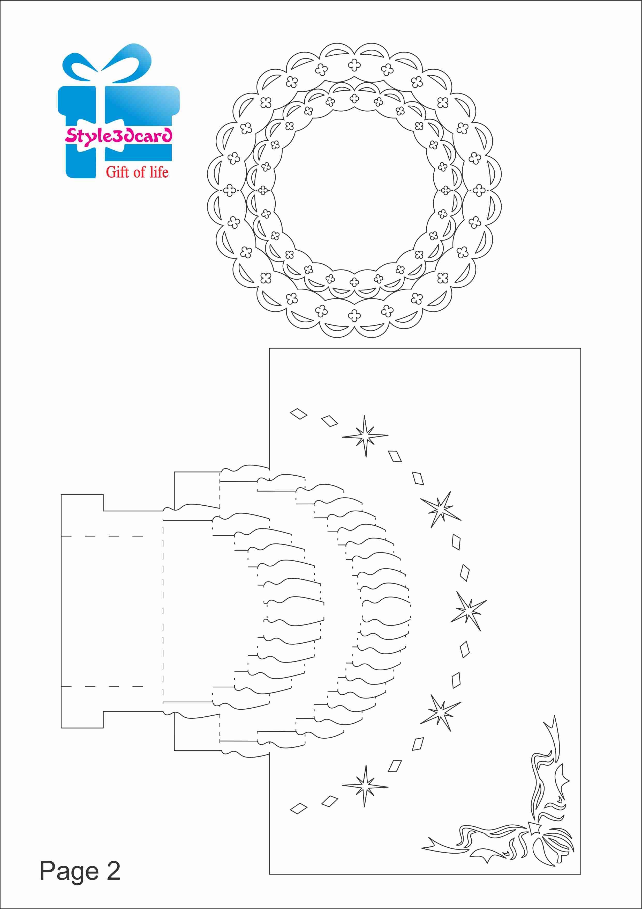 Happy Birthday-Cake-3D-Pop-Up-Greeting-Card/ Kirigami Pattern 2   1 - Free Printable Kirigami Pop Up Card Patterns