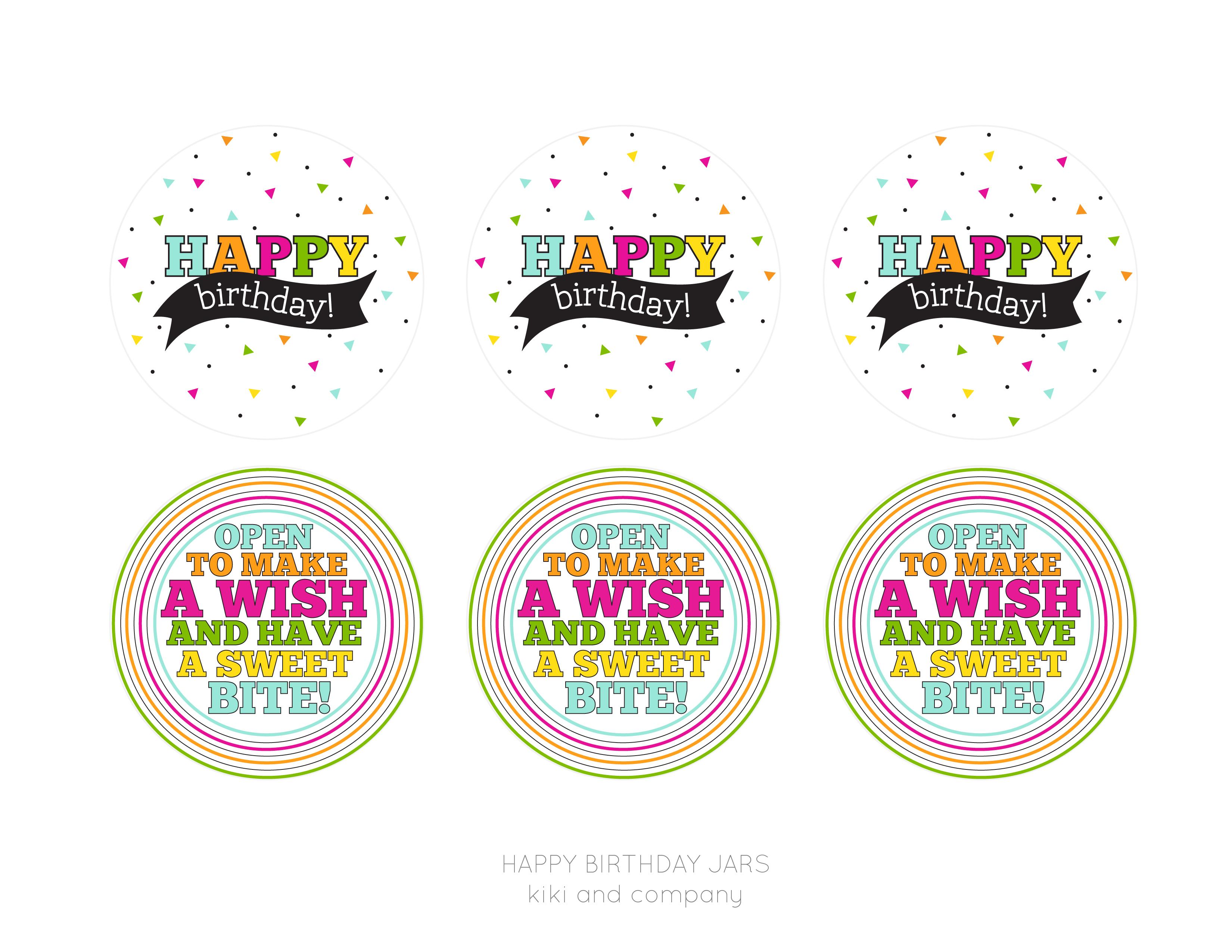 Happy Birthday Jar {Free Printable} - Kiki & Company - Happy Birthday Free Printable