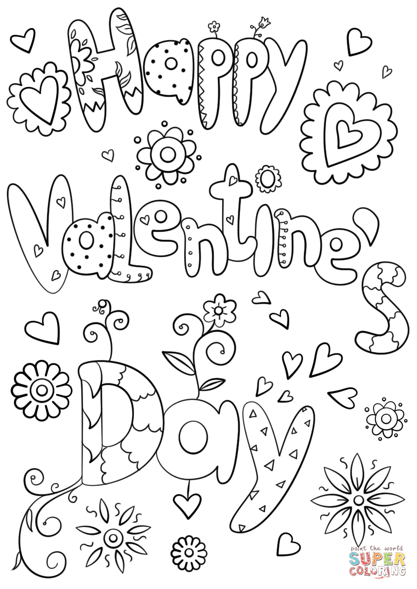 Happy Valentine's Day Coloring Page | Free Printable Coloring Pages - Free Printable Valentines Day Coloring Pages