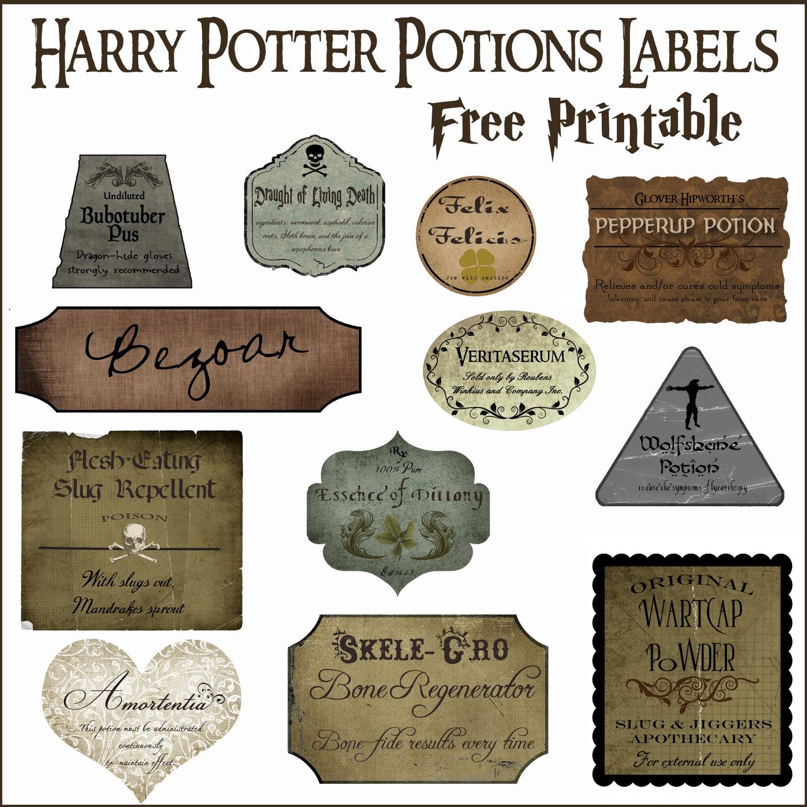 Harry Potter Potion Label Printables - Free Printable Potion Labels