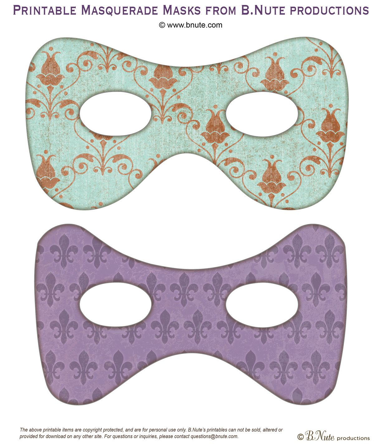 Have Your Guests Come In Masks!   Free Printable Masquerade Masks. I - Free Printable Masquerade Masks