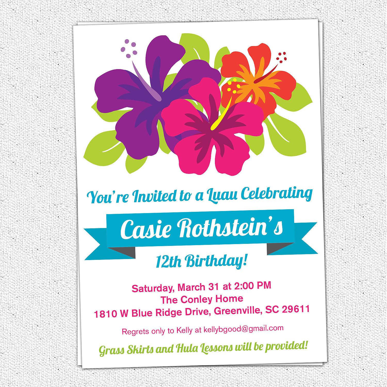 Hawaiian Birthday Invitations — Birthday Invitation Examples - Hawaiian Party Invitations Free Printable