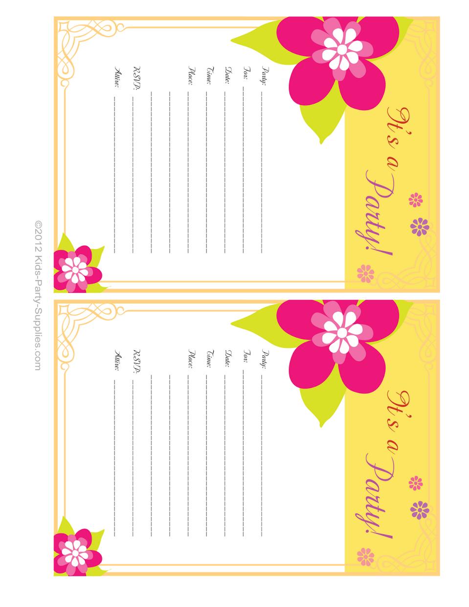Hawaiian Party Invitations Free Printable | Party Invitations | Free - Hawaiian Party Invitations Free Printable