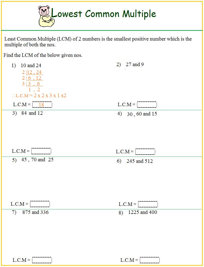 Hcf And Lcm Worksheet Year 6 | Free Printables Worksheet - Free Printable Lcm Worksheets