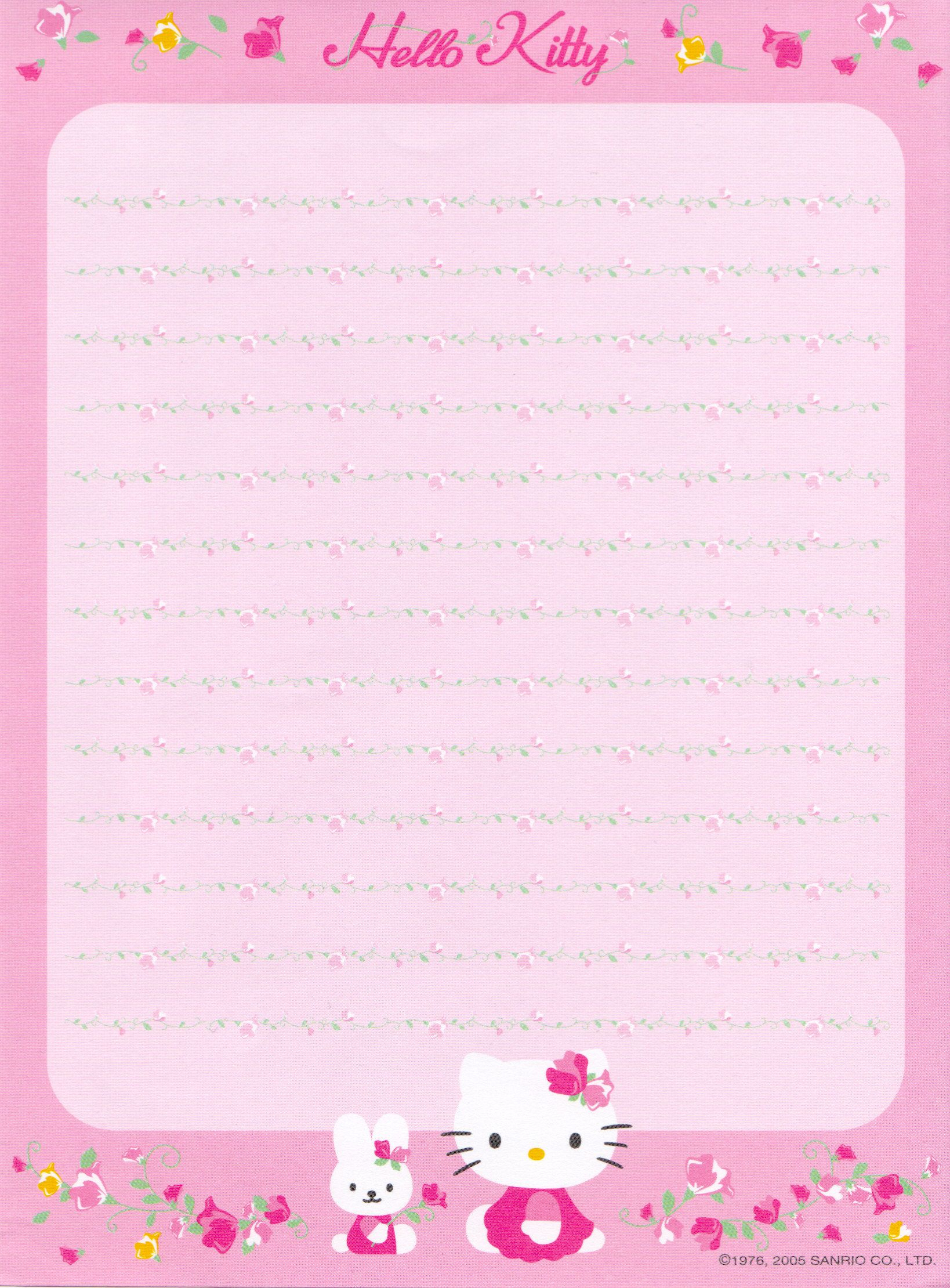 Hello Kitty | Borders,stationary,backgrounds | Free Printable - Free Printable Hello Kitty Stationery